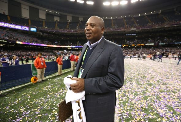 Feb 3, 2013; New Orleans, LA, USA; Baltimore Ravens general manger Ozzie Newsome celebrates after defeating the San Francisco 49ers 34-31 in Super Bowl XLVII at the Mercedes-Benz Superdome. Mandatory Credit: Matthew Emmons-USA TODAY Sports