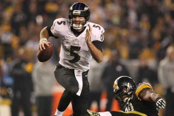 Jan 3, 2015; Pittsburgh, PA, USA; Baltimore Ravens quarterback Joe Flacco (5) prepares to throw to ball for a touchdown pass against the Pittsburgh Steelers in the third quarter during the 2014 AFC Wild Card playoff football game at Heinz Field. Mandatory Credit: Jason Bridge-USA TODAY Sports