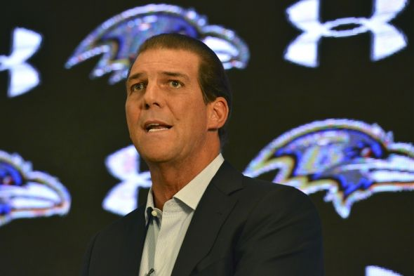 Sep 22, 2014; Owings Mills, MD, USA; Baltimore Ravens owner Steve Bisciotti speaks during press conference at Under Armour Performance Center. Mandatory Credit: Tommy Gilligan-USA TODAY Sports