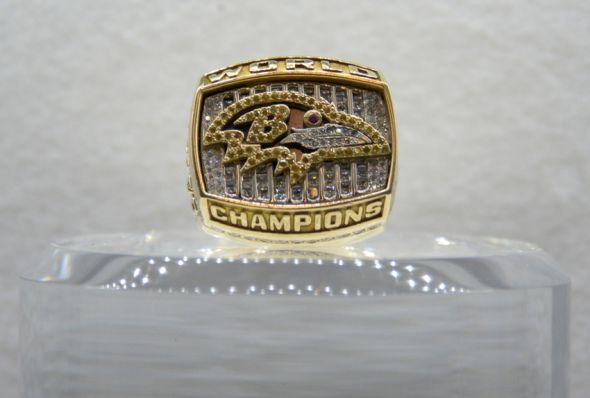 Jan 29, 2015; Phoenix, AZ, USA; General view of Super Bowl XXXV championship ring to commemorate the Baltimore Ravens 34-7 victory over the New York Giants on January 28, 2001 on display at the NFL Experience at the Phoenix Convention Center. Mandatory Credit: Kirby Lee-USA TODAY Sport