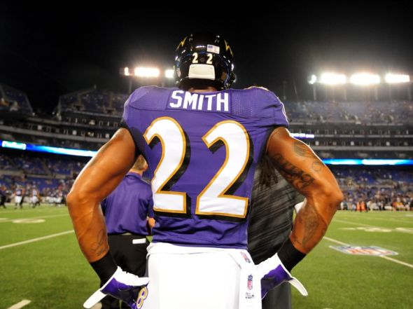 Sep 11, 2014; Baltimore, MD, USA; Baltimore Ravens cornerback Jimmy Smith (22) looks on prior to the game against the Pittsburgh Steelers at M&T Bank Stadium. Mandatory Credit: Evan Habeeb-USA TODAY Sports