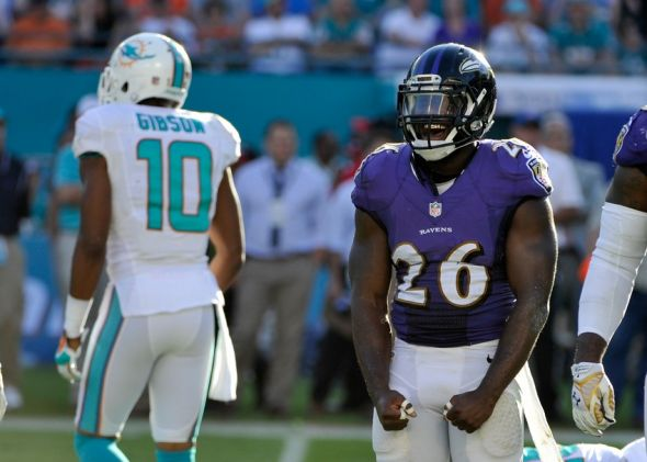 Dec 7, 2014; Miami Gardens, FL, USA; Baltimore Ravens strong safety Matt Elam (26) reacts against the Miami Dolphins during the second half at Sun Life Stadium. Ravens won 28-13.  Mandatory Credit: Steve Mitchell-USA TODAY Sports