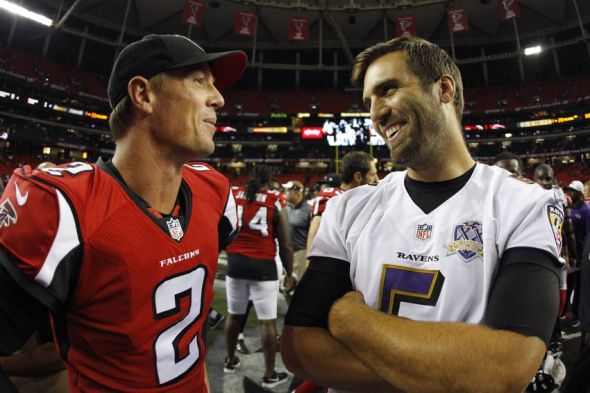 Sep 3, 2015; Atlanta, GA, USA; Atlanta Falcons quarterback Matt Ryan (2) talks to Baltimore Ravens quarterback Joe Flacco (5) after a game at the Georgia Dome. The Ravens defeated the Falcons 20-19. Mandatory Credit: Brett Davis-USA TODAY Sports