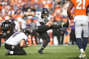 Sep 13, 2015; Denver, CO, USA; Baltimore Ravens kicker Justin Tucker (9) kicks a field goal during the second half against the Denver Broncos at Sports Authority Field at Mile High. The Broncos won 19-13. Mandatory Credit: Chris Humphreys-USA TODAY Sports