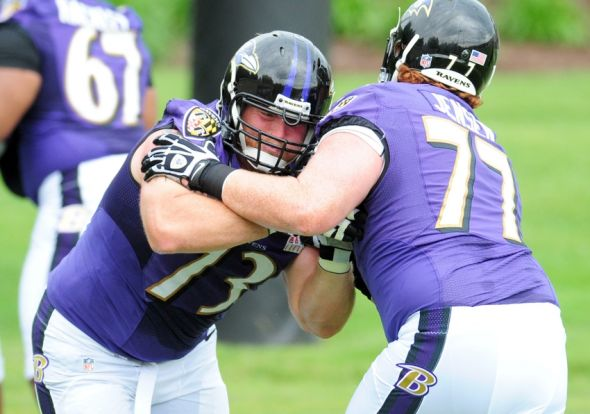Jun 19, 2014; Baltimore, MD, USA; Baltimore Ravens offensive guard Marshall Yanda (73) is blocked by offensive lineman Ryan Jensen (77) during minicamp at the Under Armour Performance Center. Mandatory Credit: Evan Habeeb-USA TODAY Sports