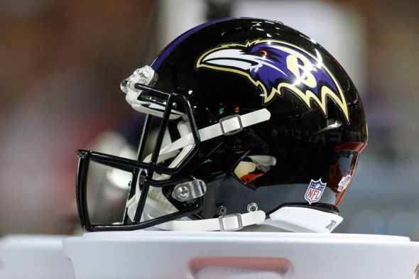Sep 3, 2015; Atlanta, GA, USA; Detailed view of Baltimore Ravens helmet on the sidelines against the Atlanta Falcons in the third quarter at the Georgia Dome. The Ravens defeated the Falcons 20-19. Mandatory Credit: Brett Davis-USA TODAY Sports