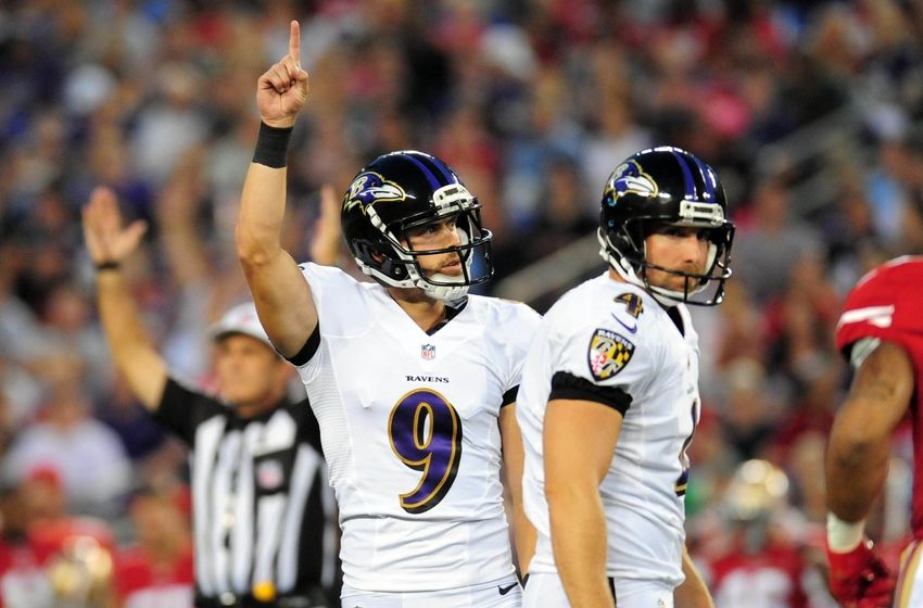 Aug 7, 2014; Baltimore, MD, USA; Baltimore Ravens kicker Justin Tucker (9) reacts after making a 42 yard field goal in the first quarter against the San Francisco 49ers at M&T Bank Stadium. Mandatory Credit: Evan Habeeb-USA TODAY Sports