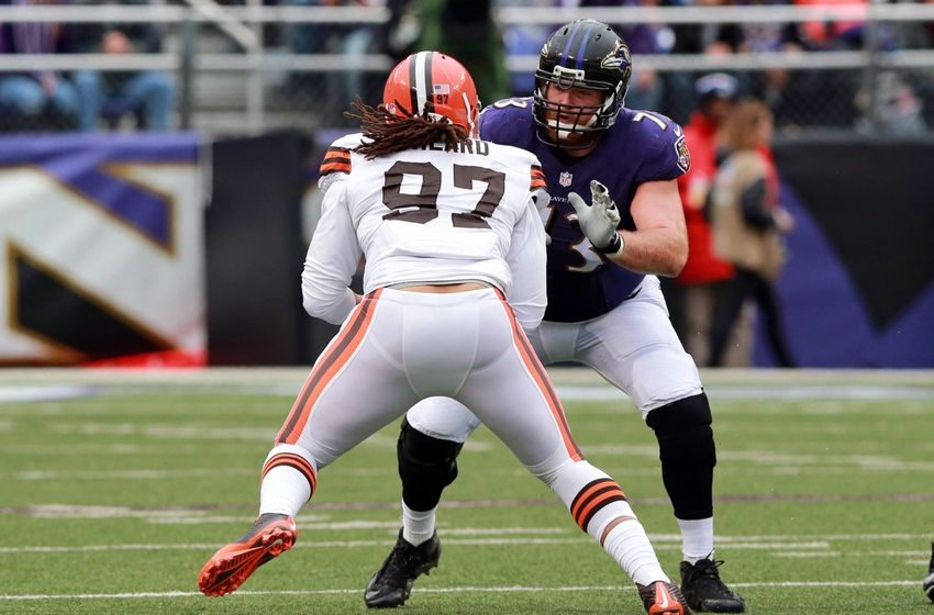 Dec 28, 2014; Baltimore, MD, USA; Baltimore Ravens guard Marshal Yanda (73) blocks Cleveland Browns linebacker Jabaal Sheard (97) at M&T Bank Stadium. Mandatory Credit: Mitch Stringer-USA TODAY Sports