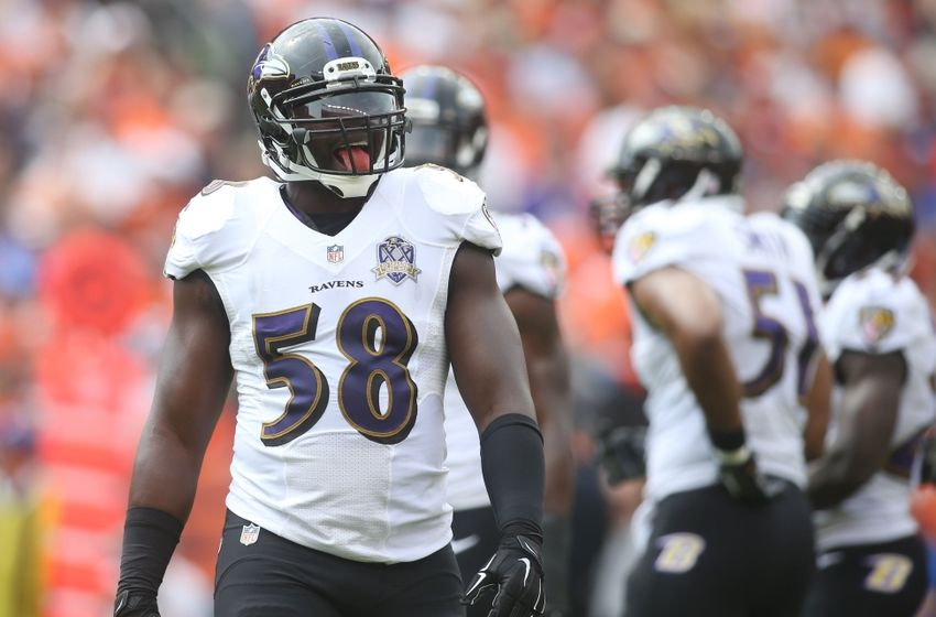 Sep 13, 2015; Denver, CO, USA; Baltimore Ravens outside linebacker Elvis Dumervil (58) during the first half against the Denver Broncos at Sports Authority Field at Mile High. Mandatory Credit: Chris Humphreys-USA TODAY Sports