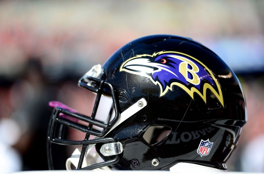 Oct 26, 2014; Cincinnati, OH, USA; Baltimore Ravens helmet on the sidelines against the Cincinnati Bengals at Paul Brown Stadium. Bengals defeated the Ravens 27-24. Mandatory Credit: Andrew Weber-USA TODAY Sports