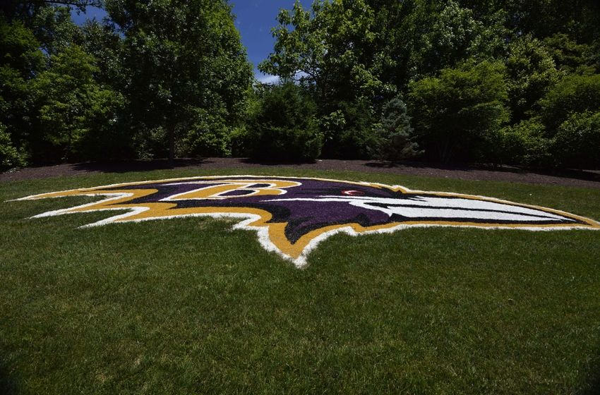 Jun 14, 2016; Baltimore, MD, USA; A general view of the Baltimore Ravens logo painted on the hill outside the Under Armour Performance Center prior to the start of mini camp. Mandatory Credit: Tommy Gilligan-USA TODAY Sports