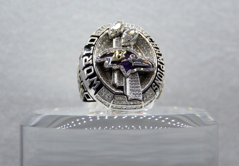 Jan 29, 2015; Phoenix, AZ, USA; General view of Super Bowl XLVII championship ring to commemorate the Baltimore Ravens 34-31 victory over the San Francisco 49ers on February 3, 2013 on display at the NFL Experience at the Phoenix Convention Center. Mandatory Credit: Kirby Lee-USA TODAY Sport