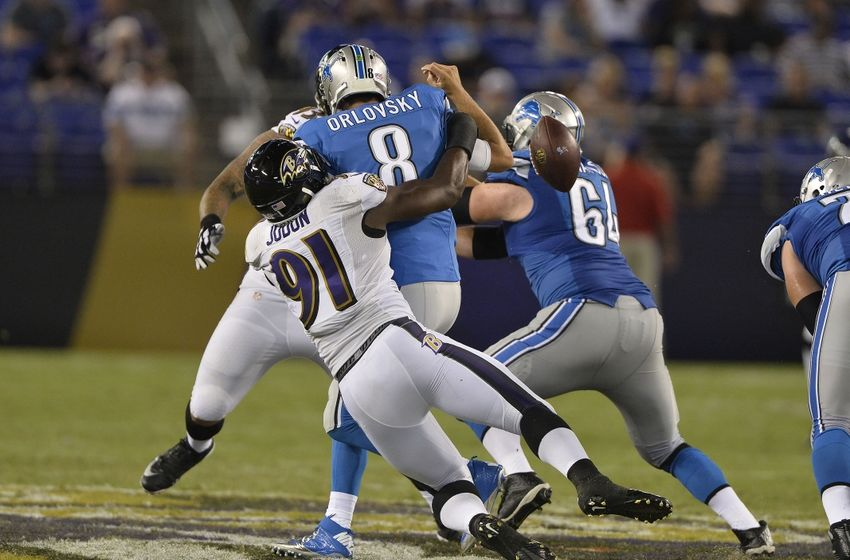Aug 27, 2016; Baltimore, MD, USA; Baltimore Ravens linebacker Matt Judon (91) sacks Detroit Lions quarterback Dan Orlovsky (8) during the second half at M&T Bank Stadium. Mandatory Credit: Tommy Gilligan-USA TODAY Sports