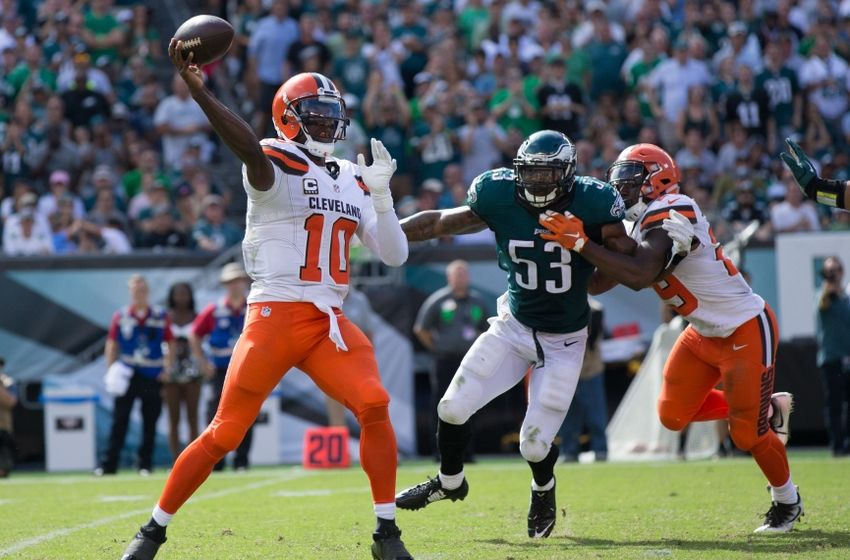 Sep 11, 2016; Philadelphia, PA, USA; Cleveland Browns quarterback Robert Griffin III (10) passes in front of the rush attempt of Philadelphia Eagles linebacker Nigel Bradham (53) during the second half at Lincoln Financial Field. The Philadelphia Eagles won 29-10. Mandatory Credit: Bill Streicher-USA TODAY Sports