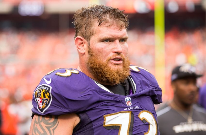 Sep 18, 2016; Cleveland, OH, USA; Baltimore Ravens guard Marshal Yanda (73) walks off the field following the game against the Cleveland Browns at FirstEnergy Stadium. The Ravens defeated the Browns 25-20. Mandatory Credit: Scott R. Galvin-USA TODAY Sports