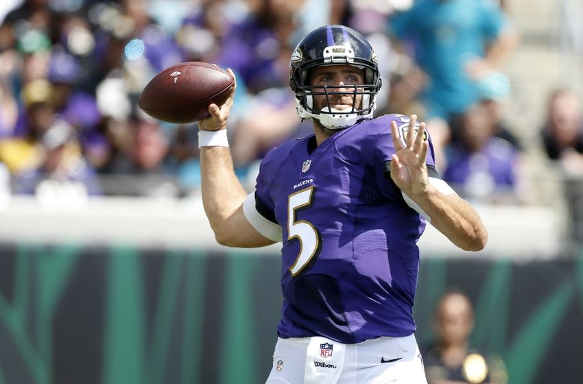 Sep 25, 2016; Jacksonville, FL, USA; Baltimore Ravens quarterback Joe Flacco (5) throws the ball in the second quarter against the Jacksonville Jaguars at EverBank Field. Mandatory Credit: Logan Bowles-USA TODAY Sports
