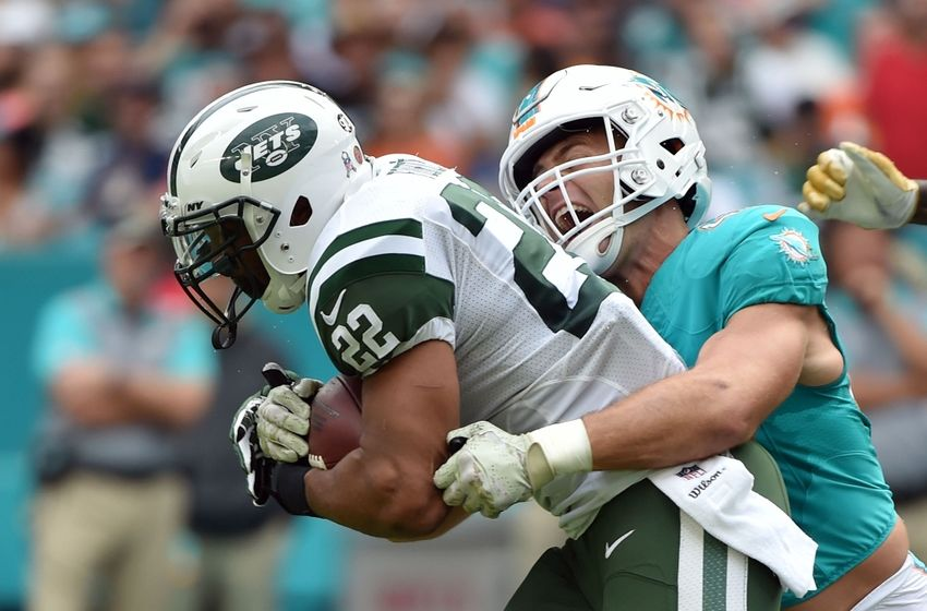 Nov 6, 2016; Miami Gardens, FL, USA; New York Jets running back Matt Forte (22) is tackled by Miami Dolphins linebacker Kiko Alonso (47) during the first half at Hard Rock Stadium. Mandatory Credit: Steve Mitchell-USA TODAY Sports