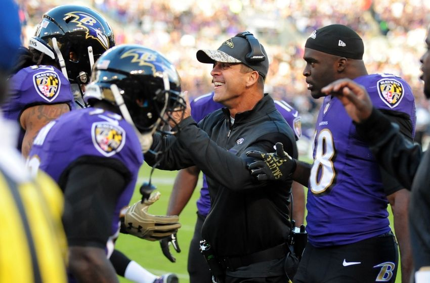 Nov 6, 2016; Baltimore, MD, USA; Baltimore Ravens head coach John Harbaugh (center) congratulates wide receiver Chris Moore (10) after recovering a blocked punt for a touchdown in the fourth quarter against the Pittsburgh Steelers at M&T Bank Stadium. Mandatory Credit: Evan Habeeb-USA TODAY Sports