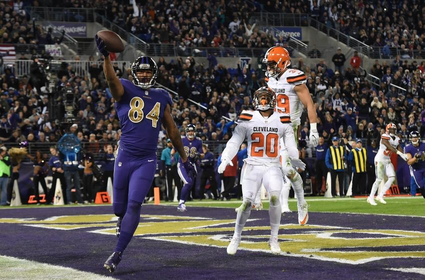 Nov 10, 2016; Baltimore, MD, USA;  Baltimore Ravens wide receiver Chris Matthews (84) celebrates after scoring a touchdown in front of Cleveland Browns cornerback Briean Boddy-Calhoun (20) during the third quarter at M&T Bank Stadium. Mandatory Credit: Tommy Gilligan-USA TODAY Sports