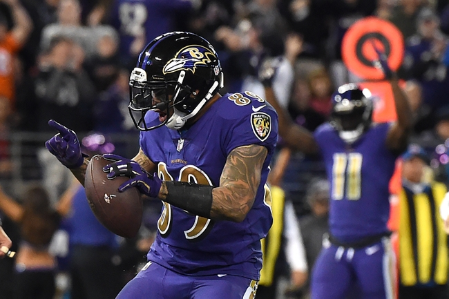 Nov 10, 2016; Baltimore, MD, USA;  Baltimore Ravens wide receiver Steve Smith (89) celebrates after scoring a touchdown during the third quarter against the Cleveland Browns at M&T Bank Stadium. Mandatory Credit: Tommy Gilligan-USA TODAY Sports