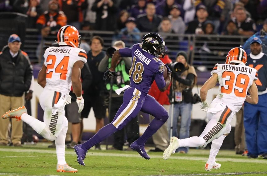 Nov 10, 2016; Baltimore, MD, USA;  Baltimore Ravens wide receiver Breshad Perriman (18) runs for a gain after a  catch against the Cleveland Browns at M&T Bank Stadium. Mandatory Credit: Mitch Stringer-USA TODAY Sports