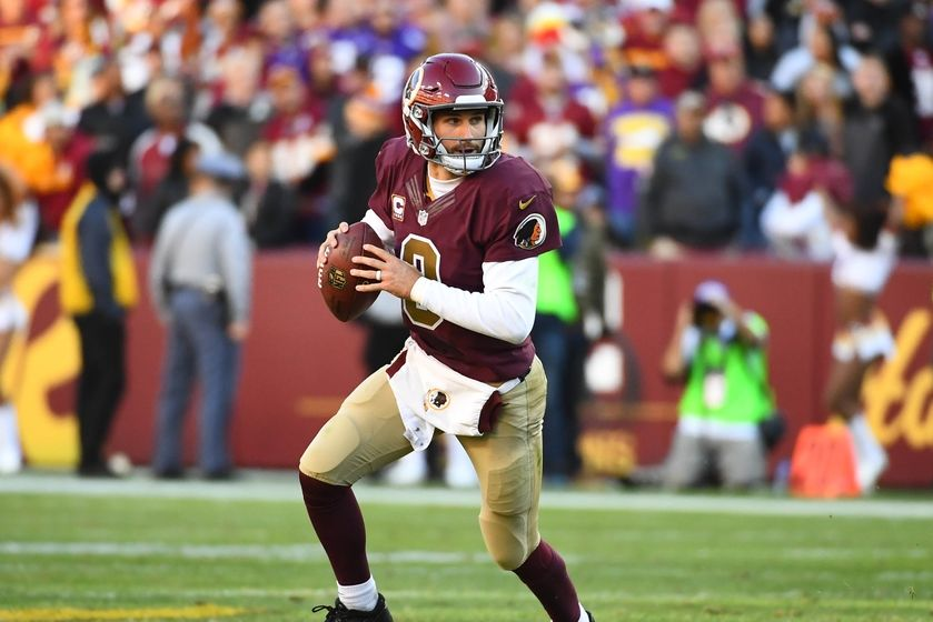 Nov 13, 2016; Landover, MD, USA; Washington Redskins quarterback Kirk Cousins (8) rolls out against the Minnesota Vikings during the second half at FedEx Field. The Washington Redskins won 26 - 20. Mandatory Credit: Brad Mills-USA TODAY Sports
