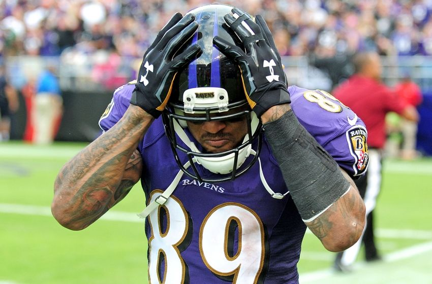 Oct 2, 2016; Baltimore, MD, USA; Baltimore Ravens wide receiver Steve Smith, Sr. (89) reacts after scoring a touchdown in the fourth quarter against the Oakland Raiders at M&T Bank Stadium. Mandatory Credit: Evan Habeeb-USA TODAY Sports