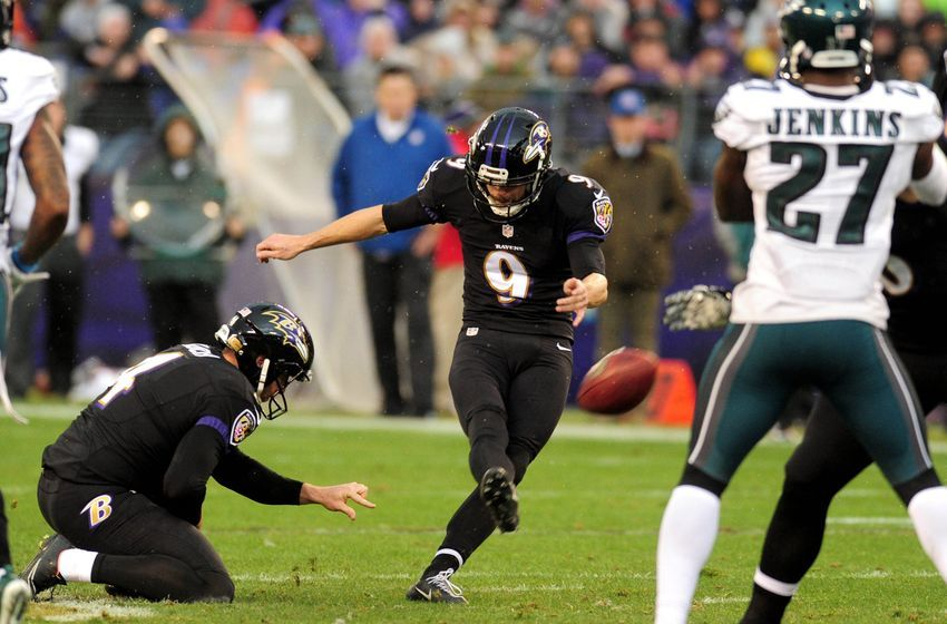 Dec 18, 2016; Baltimore, MD, USA; Baltimore Ravens kicker Justin Tucker (9) kicks a 53 yard field goal in the first quarter against the Philadelphia Eagles at M&T Bank Stadium. Mandatory Credit: Evan Habeeb-USA TODAY Sports
