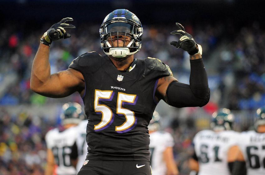 Dec 18, 2016; Baltimore, MD, USA; Baltimore Ravens linebacker Terrell Suggs (55) reacts during the game against the Philadelphia Eagles at M&T Bank Stadium. Mandatory Credit: Evan Habeeb-USA TODAY Sports