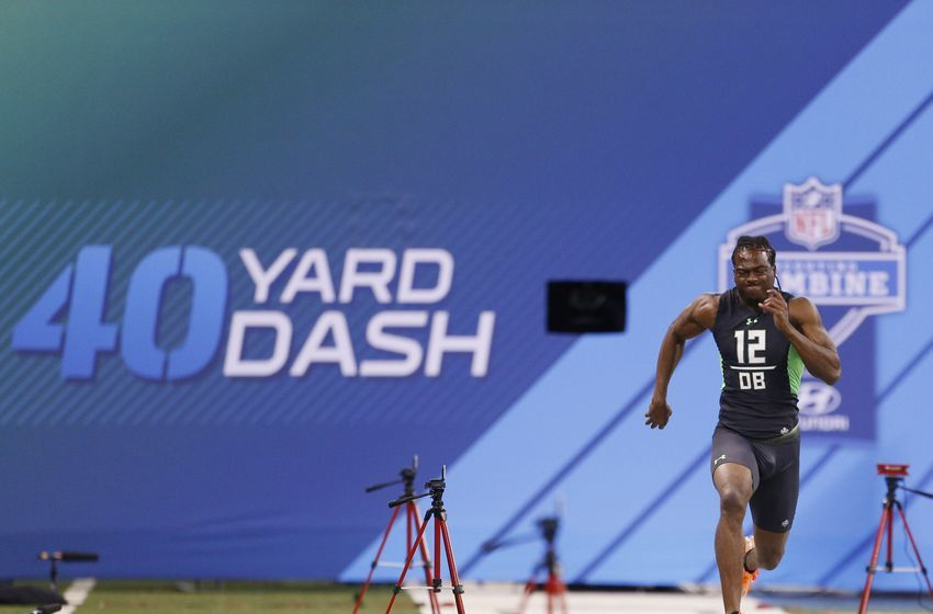 Feb 29, 2016; Indianapolis, IN, USA; Virginia Cavaliers defensive back Maurice Canady runs the 40 yard dash during the 2016 NFL Scouting Combine at Lucas Oil Stadium. Mandatory Credit: Brian Spurlock-USA TODAY Sports