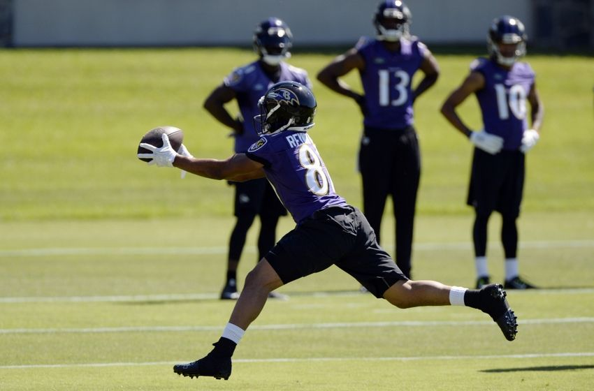 Jun 14, 2016; Baltimore, MD, USA; Baltimore Ravens wide receiver Keenan Reynolds (81) leaps for a catch during the first day of minicamp sessions at Under Armour Performance Center. Mandatory Credit: Tommy Gilligan-USA TODAY Sports