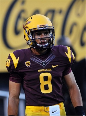 Arizona State running back DJ Foster (8). Mandatory Credit: Jennifer Hilderbrand-USA TODAY Sports