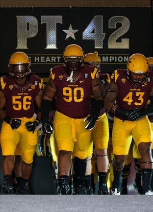 Sep 5, 2013; Tempe, AZ, USA; Arizona State Sun Devils defensive tackle Will Sutton (90) leads teammates out onto the field prior to the game against the Sacramento State Hornets at Sun Devil Stadium. Mandatory Credit: Mark J. Rebilas-USA TODAY Sports