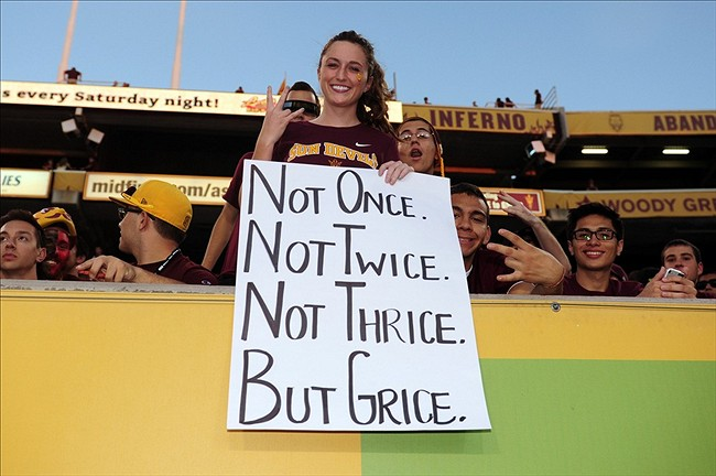 Sep 28, 2013; Tempe, AZ, USA; An Arizona State Sun Devils fan holds a sign prior to the game against the USC Trojans at Sun Devil Stadium. Mandatory Credit: Matt Kartozian-USA TODAY Sports