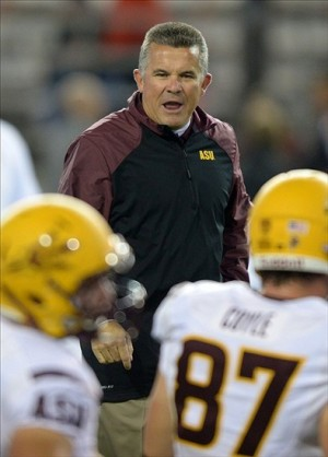 Oct 31, 2013; Pullman, WA, USA; Arizona State Sun Devils coach Todd Graham instructs before the game against the Washington State Cougars at Martin Stadium. Mandatory Credit: Kirby Lee-USA TODAY Sports