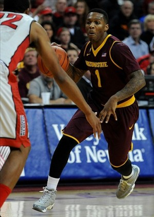 Nov 19, 2013; Las Vegas, NV, USA; Arizona State Sun Devils guard Jahii Carson (1) dribbles the ball during an NCAA men