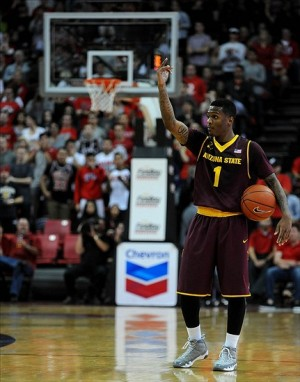 Nov 19, 2013; Las Vegas, NV, USA; Arizona State Sun Devils guard Jahii Carson (1) holds the ball to control the tempo of an NCAA men