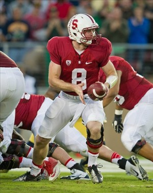 Nov 30, 2013; Stanford, CA, USA; Stanford Cardinal quarterback Kevin Hogan (8) prepares to hand off the ball in the second quarter against the Notre Dame Fighting Irish at Stanford Stadium. Mandatory Credit: Matt Cashore-USA TODAY Sports