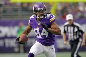 Dec 29, 2013; Minneapolis, MN, USA; Minnesota Vikings wide receiver Cordarrelle Patterson (84) runs with the ball to score a touchdown during the first quarter against the Detroit Lions at Mall of America Field at H.H.H. Metrodome. Mandatory Credit: Brace Hemmelgarn-USA TODAY Sports