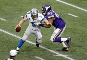 Dec 29, 2013; Minneapolis, MN, USA; Minnesota Vikings defensive end Everson Griffen (97) sacks Detroit Lions quarterback Matthew Stafford (9) in the fourth quarter at Mall of America Field at H.H.H. Metrodome. The Vikings win 14-13. Mandatory Credit: Bruce Kluckhohn-USA TODAY Sports
