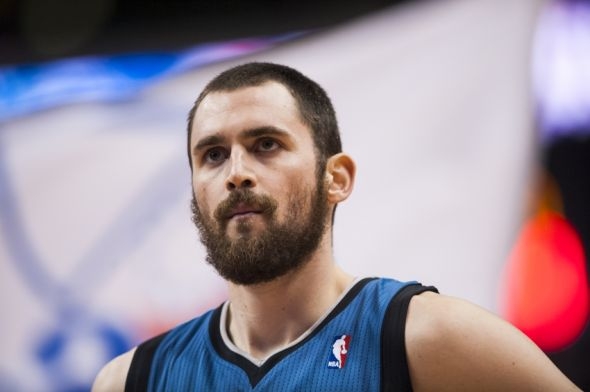 Dec 04, 2012; Philadelphia, PA, USA; Minnesota Timberwolves forward Kevin Love (42) prior to playing the Philadelphia 76ers at the Wachovia Center. The Timberwolves defeated the Sixers 105-88. Mandatory Credit: Howard Smith-USA TODAY Sports