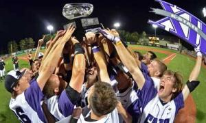 The Kansas State Wildcats proudly display their championship trophy for winning the 2013 Big 12 baseball regular-season championship.
