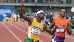 Baylor freshman Trayvon Brumell won the men's 100 meters title on Friday at the 2014 NCAA Outdoor Track and Field Championships in Eugene, Ore.