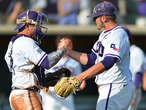 TCU defeated Pepperdine 3-2 in Game 1 of their NCAA Super Regional series in Ft. Worth to move to within one win of advancing to the College World Series.