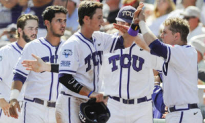 TCU won its 33rd game in the last 37 and improved its 2014 postseason record to 6-1 with a 3-2 victory over Big 12-rival Texas Tech on Sunday in the College World Series.