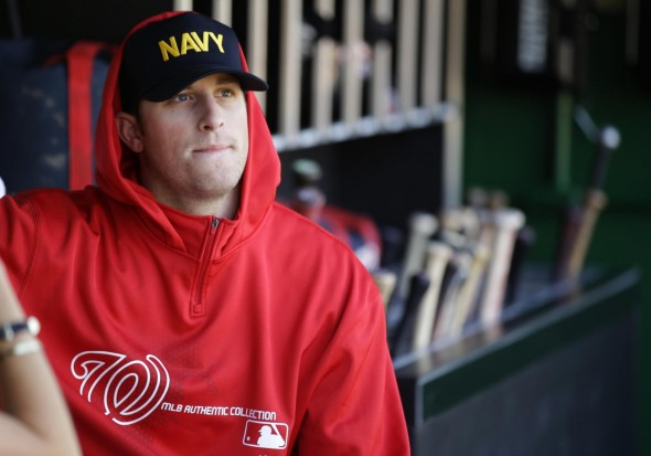 The Nationals wore NAVY hats before the game in honor of the victims at the close by Navy Yard.