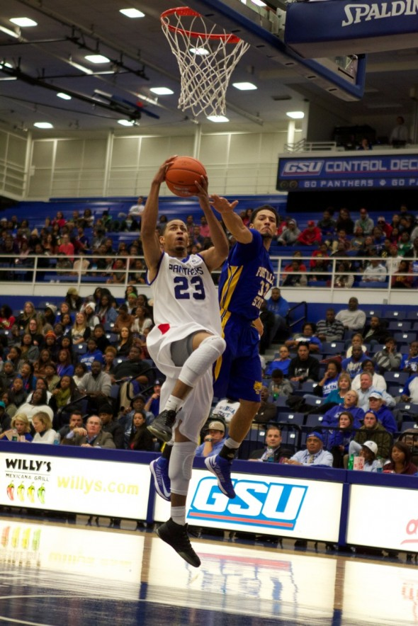 Manny Atkins of GSU goes up for a layup - Courtesy of GSU Communications