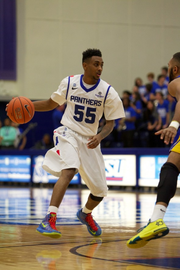 Ryan Harrow, the biggest newcomer for GSU handles the ball in an exhibition game earlier this season.
