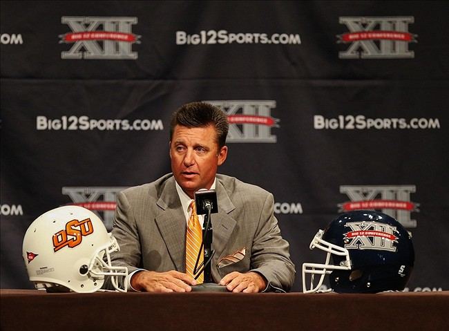 Jul 22, 2013; Dallas, TX, USA; Oklahoma State Cowboys head coach Mike Gundy speaks to the media during the Big 12 media days at the Omni Dallas Hotel. Mandatory Credit: Kevin Jairaj-USA TODAY Sports