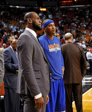 Apr 2, 2013; Miami, FL, USA; Miami Heat small forward LeBron James (left) talks with New York Knicks small forward Carmelo Anthony (right) before the start of the third quarter at American Airlines Arena. New York won 102-90. Mandatory Credit: Steve Mitchell-USA TODAY Sports